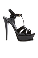 Saint Laurent Tribute Patent Leather Platform Sandals In Black