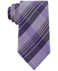 Calvin Klein Men's Schoolboy Chalk Plaid Slim Tie Lilac