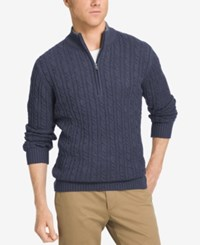 Izod Men's Big And Tall Mock Turtleneck Sweater Peacoat Heather