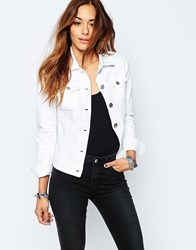 Replay Fitted Denim Jacket White