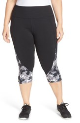 Plus Size Women's Marika Curves High Rise Capris Black Crumpled Tie Dye