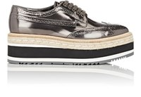 Prada Women's Leather Platform Espadrille Wingtip Oxfords Dark Grey