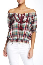 Hazel Off The Shoulder Plaid Blouse Red