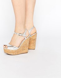 Asos Twirl Wide Fit Wedges Silver