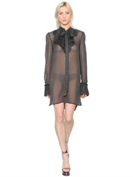 Ermanno Scervino Crepe Georgette Dress W Bow Applique