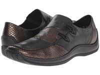 Rieker L1762 Celia 62 Cigar Anaconda Schwarz Cristallino Women's Slip On Shoes Black