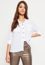 Missguided Petite White Pocket Front Shirt