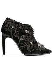 Alberta Ferretti Flower Applique Ankle Boots Grey