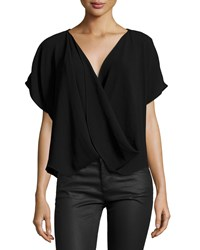 Natori Short Sleeve Faux Wrap Top Black