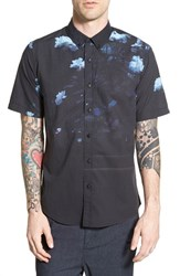 Men's Ezekiel 'Blackout' Trim Fit Short Sleeve Print Woven Shirt