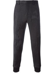 Neil Barrett Striped Camo Print Trousers Grey
