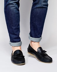 Asos Tassel Loafers In Leather Black