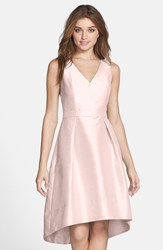 Alfred Sung Satin High Low Fit And Flare Dress Online Only Pearl Pink