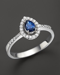 Bloomingdale's Diamond And Sapphire Teardrop Ring In 14K White Gold Multi