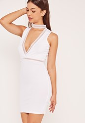 Missguided White Ladder Trim Choker Plunge Bodycon Dress
