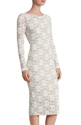 Dress The Population Women's Emery Lace Body Con Midi Ivory Nude