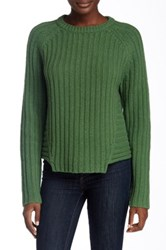 Marc By Marc Jacobs Notched Wool Blend Knit Sweater Green