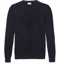 Brioni Ribbed Wool Cashmere And Silk Blend Sweater Blue