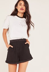Missguided Black Satin Detail Tailored Shorts