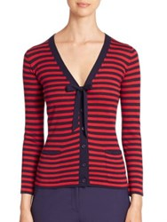 Armani Collezioni Tie Neck Striped Cardigan Multicolor