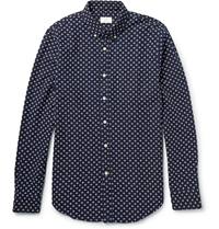 Club Monaco Button Down Collar Embroidered Cotton Shirt Blue