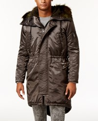 Guess Men's Alpine Satin Fishtail Parka With Faux Fur Hood Soldier Green