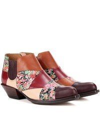 Coach Patchwork Bandit Printed Leather Ankle Boots Multicoloured