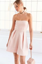Silence And Noise Silence Noise Strapless Ponte Fit Flare Mini Dress Pink