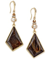 Inc International Concepts Gold Tone Geometric Swirled Brown Stone Drop Earrings Only At Macy's