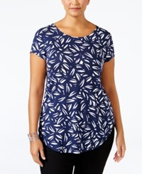 Alfani Plus Size Printed T Shirt Only At Macy's Abstract Lines Navy