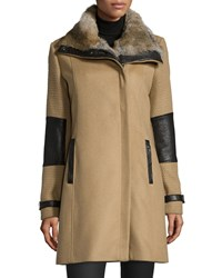 Andrew Marc New York Fur Collar Wool Blend Placket Front Coat Women's Camel