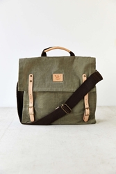 Will Leather Goods Wax Coated Canvas Messenger Bag Olive
