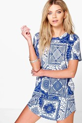 Boohoo Scarf Print Cap Sleeve Shift Dress Blue