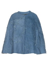 By Walid Vintage Crochet Applique Cotton Cape Blue