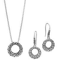 John Hardy Sterling Silver Classic Chain Small Round Earrings And Pendant Necklace Gift Box Set