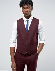 Original Penguin Formal Deep Burgundy Twill Waistcoat Red