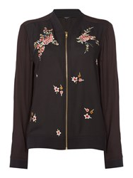 Therapy Farah Floral Embroidered Bomber Jacket Black