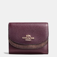 Coach Double Flap Small Wallet In Colorblock Leather Light Gold Oxblood Bronze