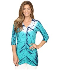Xcvi Mission V Neck Radial Wash Mermaid Women's Clothing Blue