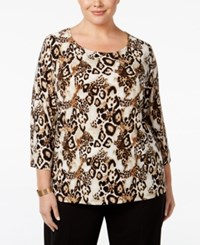 Jm Collection Plus Size Printed Jacquard Top Only At Macy's Animal Blues