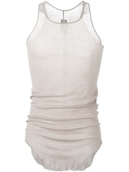 Rick Owens Curved Hem Tank Top Nude And Neutrals