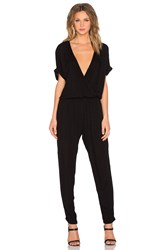 Velvet By Graham And Spencer Chandelle Damask Rayon Short Sleeve Cross Front Jumpsuit Black