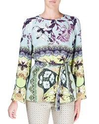 Etro Watercolor Floral Print Bell Sleeve Silk Tunic Aqua Blue