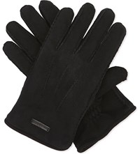Burberry Oscar Shearling Lined Suede Gloves Black