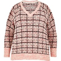 River Island Womens Ri Plus Pink Checked Cold Shoulder Jumper