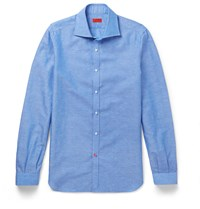 Isaia Slim Fit Spread Collar Slub Cotton And Linen Blend Shirt Blue