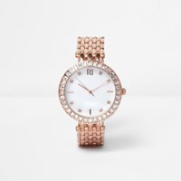 River Island Womens Rose Gold Tone Embellished Chain Watch