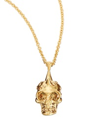 Alexander Mcqueen Punk Skull Pendant Necklace Golden