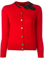 Marc Jacobs Sequinned Bow Cardigan Red