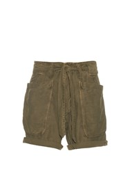 Nlst Cotton Blend Field Shorts Khaki